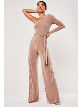 nude-one-shoulder-flare-leg-jumpsuit by missguided