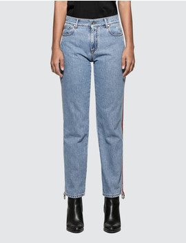 ribbed-msgm-logo-light-blue-washed-jeans by  ------------msgm --------