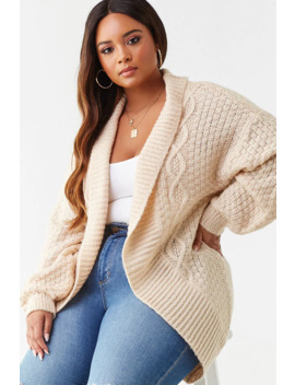 plus-size-marled-cable-knit-cardigan by forever-21