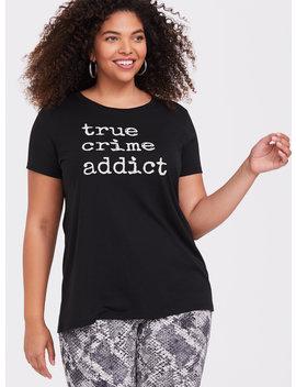 black-true-crime-addict-slim-fit-crew-tee by torrid