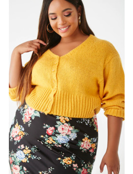plus-size-ribbed-button-front-sweater by forever-21