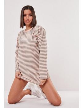 stone-oversized-long-sleeve-stripe-slogan-dress by missguided