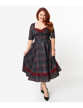 unique-vintage-plus-size-1950s-style-burgundy-&-black-plaid-sleeved-serena-swing-dress by unique-vintage