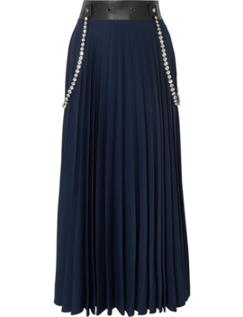 embellished-leather-trimmed-pleated-cady-maxi-skirt by christopher-kane
