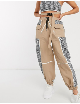 asos-design-mixed-check-pant-in-shell-fabric-co-ord by asos-design
