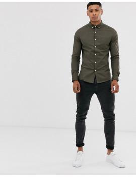 asos-design-skinny-fit-oxford-shirt-in-khaki by asos-design