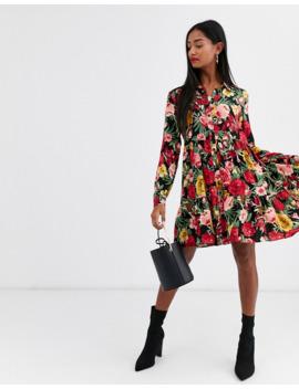 stradivarius-shirt-dress-in-large-floral-print by stradivarius