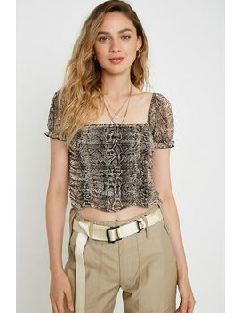 uo-snake-print-ruched-mesh-top by urban-outfitters