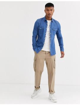 asos-design-skinny-fit-western-organic-denim-shirt-in-mid-wash by asos-design