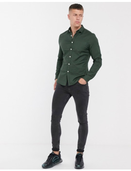asos-design-slim-fit-oxford-shirt-in-forest-green by asos-design