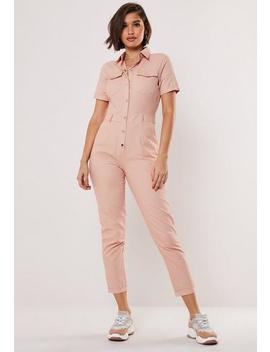 nude-short-sleeve-utility-jumpsuit by missguided
