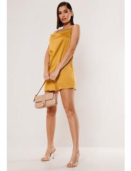 mustard-satin-cowl-cami-mini-dress by missguided