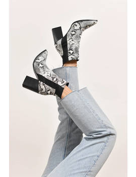 get-lost-white-multi-snakeskin-ankle-booties by tobi