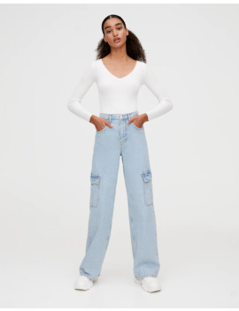 high-rise-cargo-jeans-with-pockets by pull-&-bear