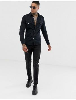 asos-design-skinny-fit-denim-western-shirt-in-black by asos-design