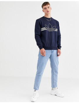 adidas-originals-–-mörkblå-sweatshirt-med-konturlogga by adidas-originals