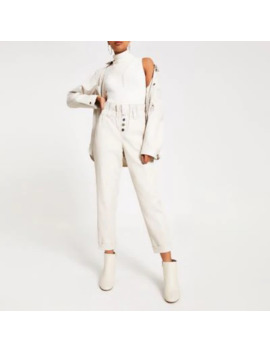 cream-faux-leather-paperbag-button-trousers by river-island