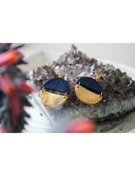 navy-blue-statement-earrings,-gold-earrings,-boho-earrings,-geometric-earrings,-girlfriend-gift,-round-earrings,-polymer-clay-earrings,-gift by etsy