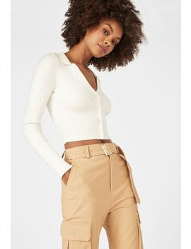 ribbed-button-front-sweater by justfab