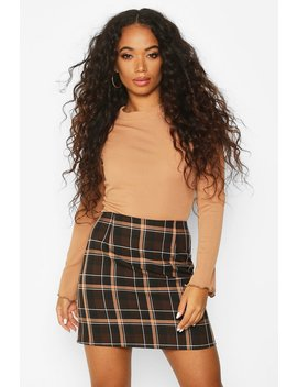 petite-check-a-line-mini-skirt by boohoo