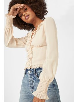 button-front-chiffon-top by justfab