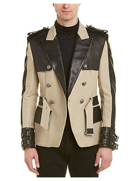 balmain-canvas-&-leather-short-trench-coat by balmain
