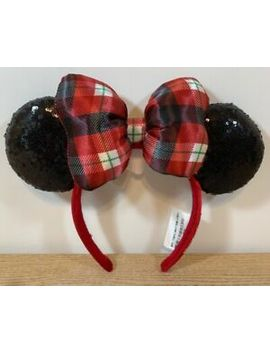 disney-parks-mickey-mouse-plaid-christmas-holiday-sequin-ears-headband by disney