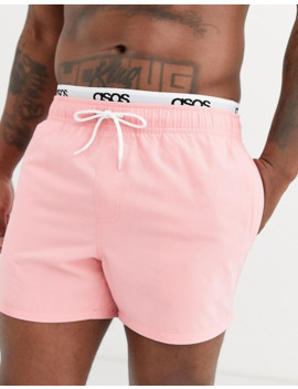 asos-design-swim-short-in-pink-with-double-layer-waistband-in-short-length by asos-design