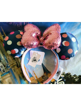 disney-parks-minnie-mouse-ears-polka-dot-sequin-pink-bow-&-navy-headband-in-hand by disney