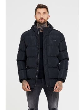 Technical Black Long Puffer Jacket by Good For Nothing Mens