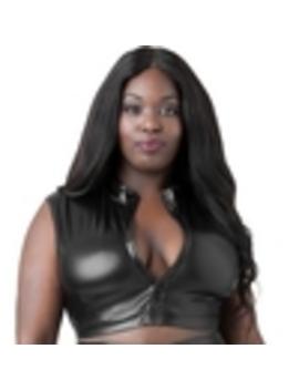 lovehoney-plus-size-fierce-black-wet-look-zip-up-crop-top by lovehoney
