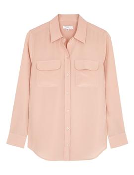 slim-signature-blush-silk-shirt by equipment