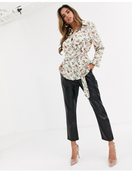missguided-belted-shirt-in-cream-floral-print by missguideds