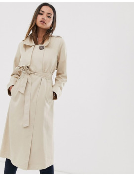 mango-button-detail-trench-coat-in-cream by mango