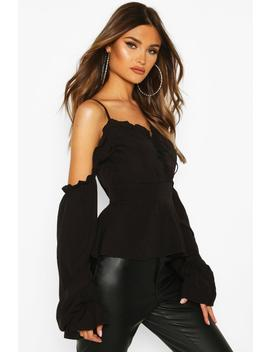 woven-cold-shoulder-lace-up-peplum-top by boohoo