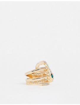 asos-design-ring-in-crystal-snake-design-in-gold-tone by asos-design
