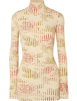 floral-print-ribbed-cotton-blend-turtleneck-top by paco-rabanne