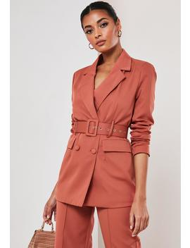 rust-co-ord-belted-blazer by missguided