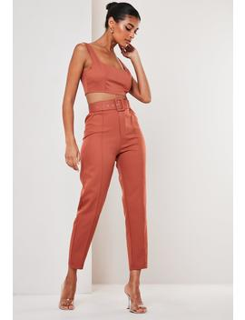 rust-co-ord-belted-seam-detail-cigarette-pants by missguided