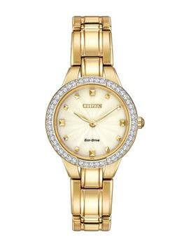 womens-eco-drive-silhouette-gold-tone-crystal-bezel-bracelet-watch,-28mm by citizen
