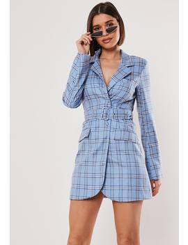 blue-plaid-buckle-belted-blazer-dress by missguided