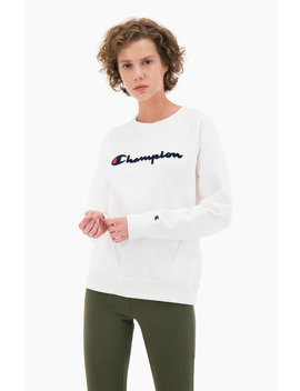 Velvet Script Logo Raglan Sleeve Sweatshirt by Champion