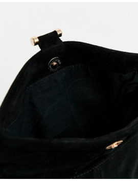 oasis-suede-crossbody-bag-with-chain-strap-in-black by oasis
