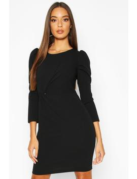 crew-neck-knot-front-puff-sleeve-shift-dress by boohoo