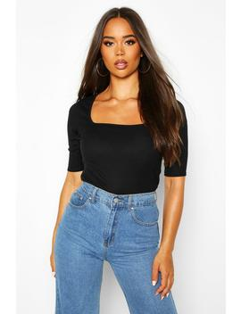 ribbed-square-neck-short-sleeve-top by boohoo