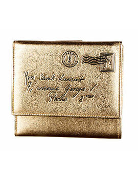 yves-saint-laurent-metallic-gold-leather-y-mail-french-wallet by yves-saint-laurent