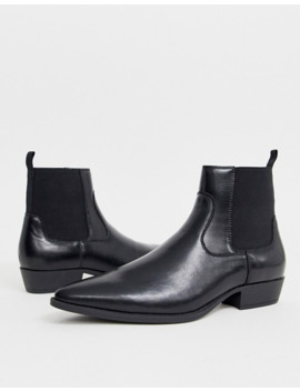 asos-design-wide-fit-cuban-heel-western-boots-in-black-faux-leather by asos-design