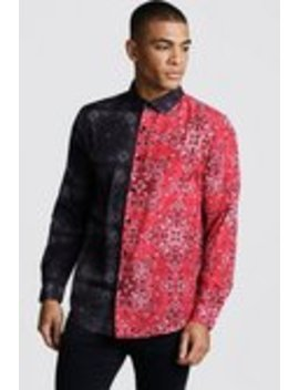 long-sleeve-spliced-bandana-print-shirt by boohooman