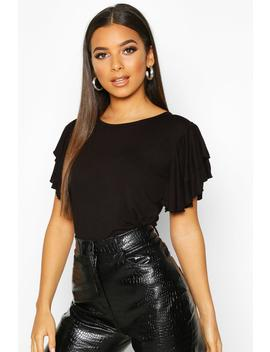 ruffle-sleeve-detail-t-shirt by boohoo
