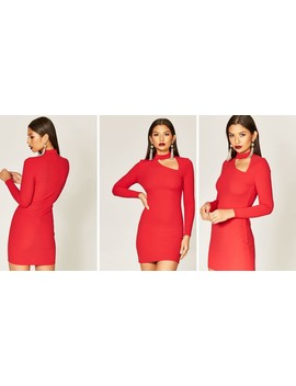 red-choker-cut-out-detail-dress by phoenix-&-feather